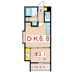 ファンテラス下荒田 4階1DKの間取り