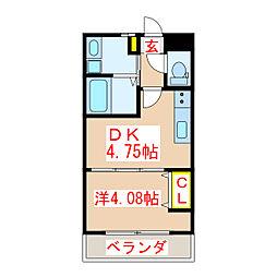 鹿児島市電2系統 中洲通駅 徒歩8分の賃貸マンション 3階1DKの間取り