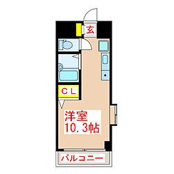 バス 武二丁目下車 徒歩3分の賃貸マンション 3階ワンルームの間取り