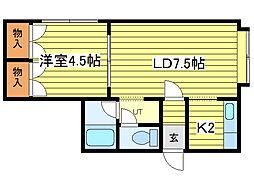ミリオンN35[1階]の間取り