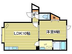 札幌市営東豊線 元町駅 徒歩9分の賃貸アパート 3階1LDKの間取り