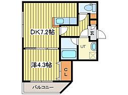 ラッフルズコート[4階]の間取り