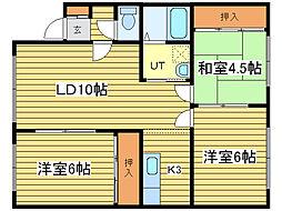 北海道札幌市東区北五十一条東5丁目の賃貸アパートの間取り
