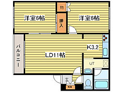 プレステージ32[3階]の間取り