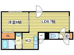 ボヌールN33[2階]の間取り