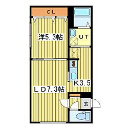 グランメール北元町[3階]の間取り