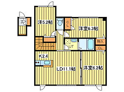元町グランビレッジU棟[2階]の間取り