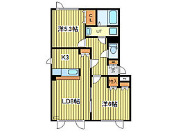 バス 東苗穂10条3丁目下車 徒歩3分の賃貸アパート 2階2LDKの間取り