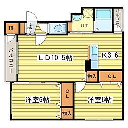クレストN43B[4階]の間取り