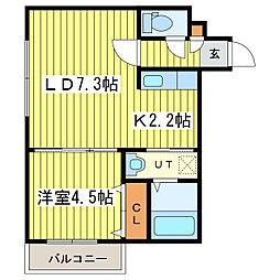 ガレ・ド・ロータス[2階]の間取り