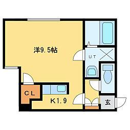 札幌市営東豊線 新道東駅 徒歩7分の賃貸マンション 3階1Kの間取り