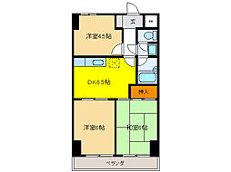 サンライン岐阜コーポ[2階]の間取り