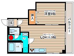藤グリーンマンション 1階1LDKの間取り