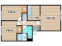 JR石北本線 北見駅 徒歩26分の賃貸アパート 1階2LDKの間取り