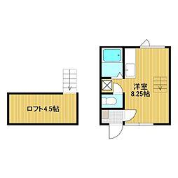 メゾンドKII 2階ワンルームの間取り
