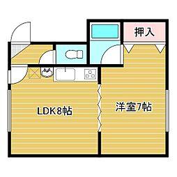 M・Kハイツ 2階1DKの間取り
