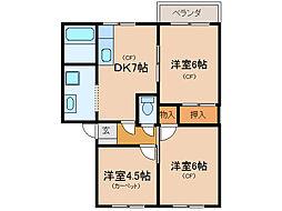 サンパティークA・B・C[1階]の間取り