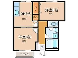 カーサKeiII[1階]の間取り