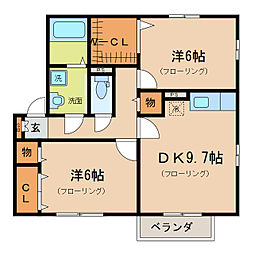 レークタウン D・E[2階]の間取り