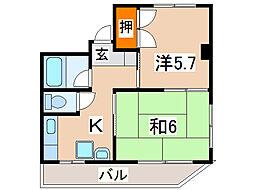 住吉ハイツ(住吉)[4階]の間取り