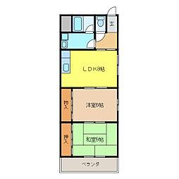 グリーンウッド新宮[3階]の間取り