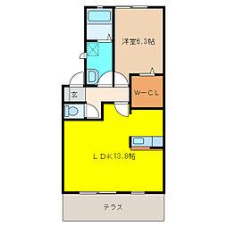 ピュア江南[1階]の間取り
