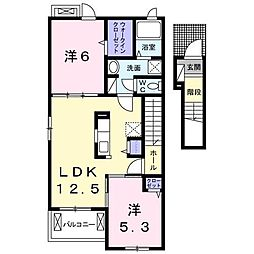 JR内房線 袖ヶ浦駅 徒歩17分の賃貸アパート 2階2LDKの間取り