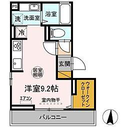 JR内房線 木更津駅 徒歩15分の賃貸アパート 2階ワンルームの間取り