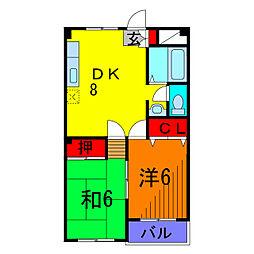 シティハイツ綾北[2階]の間取り