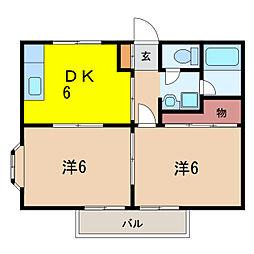 パ−ルハイツ[1階]の間取り