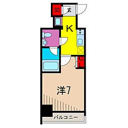 ユリカロゼAZ梅島 9階1Kの間取り