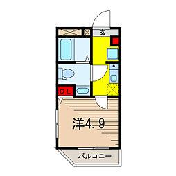 メルディア北綾瀬II 1階ワンルームの間取り