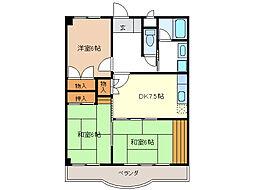 シャトーカワイ[5階]の間取り