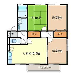 ファミーユ21 B棟[102号室]の間取り