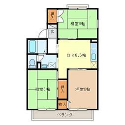 セジュールJLYCINE藤[2階]の間取り