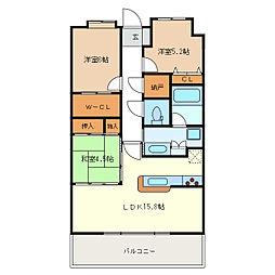 ポレスター津偕楽公園[8階]の間取り