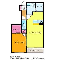 ディアコート青山[E103号室]の間取り