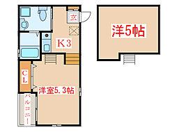 JR指宿枕崎線 坂之上駅 バス7分 鹿児島幼稚園前下車 徒歩2分の賃貸アパート 1階1Kの間取り