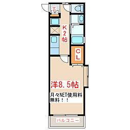 鹿児島市電1系統 上塩屋駅 徒歩5分の賃貸マンション 2階1Kの間取り