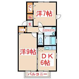 鹿児島県鹿児島市下福元町の賃貸アパートの間取り