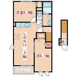 鹿児島県日置市伊集院町下神殿の賃貸アパートの間取り
