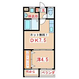 鹿児島県指宿市東方の賃貸アパートの間取り
