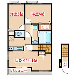 JR指宿枕崎線 枕崎駅 バス45分 保健所前下車 徒歩12分の賃貸アパート 2階2LDKの間取り