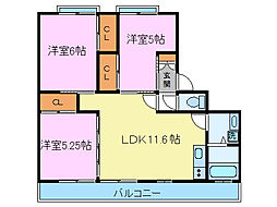 MESSAGE三島幸原[205号室]の間取り