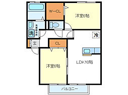 サンハイムカワムラ[2階]の間取り