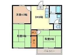 クレッセントヴィラC棟[2階]の間取り
