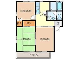 梅島ハイツ[203号室]の間取り