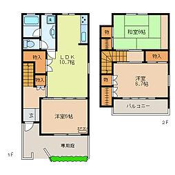 [テラスハウス] 栃木県足利市緑町1丁目 の賃貸【/】の間取り