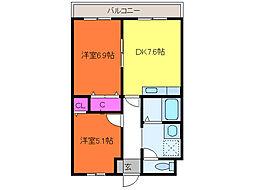 新潟県新潟市中央区堀之内南1丁目の賃貸マンションの間取り