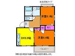 新潟県新潟市中央区長潟2丁目の賃貸アパートの間取り